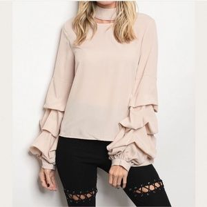 Tops - 💼 GORGEOUS RUFFLE CHOKER NECK CREAM BLOUSE